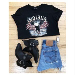 Women's Indiana Slogan T Shirt Black
